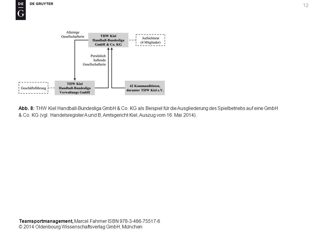 Teamsportmanagement, Marcel Fahrner ISBN 978-3-486-75517-6 © 2014 Oldenbourg Wissenschaftsverlag GmbH, Mu ̈ nchen 12 Abb. 8: THW Kiel Handball-Bundesl