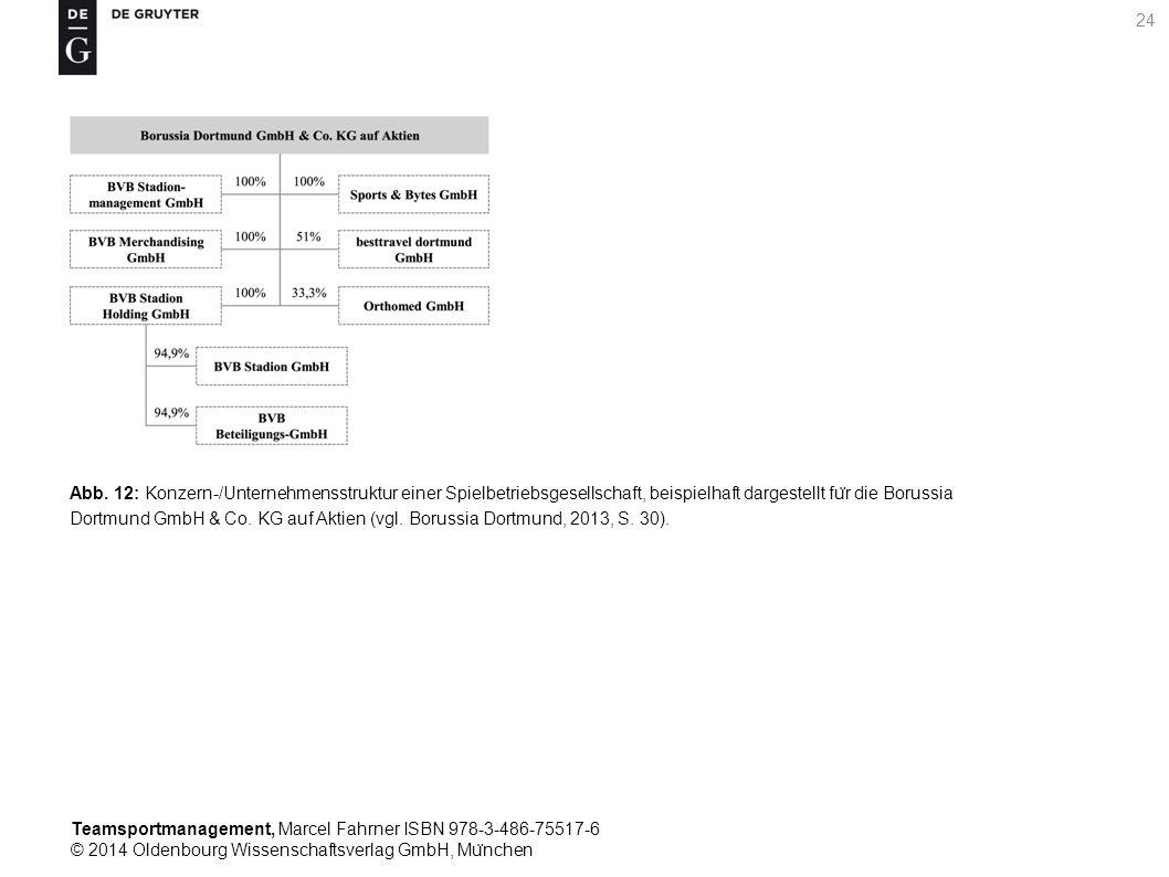 Teamsportmanagement, Marcel Fahrner ISBN 978-3-486-75517-6 © 2014 Oldenbourg Wissenschaftsverlag GmbH, Mu ̈ nchen 24 Abb. 12: Konzern-/Unternehmensstr
