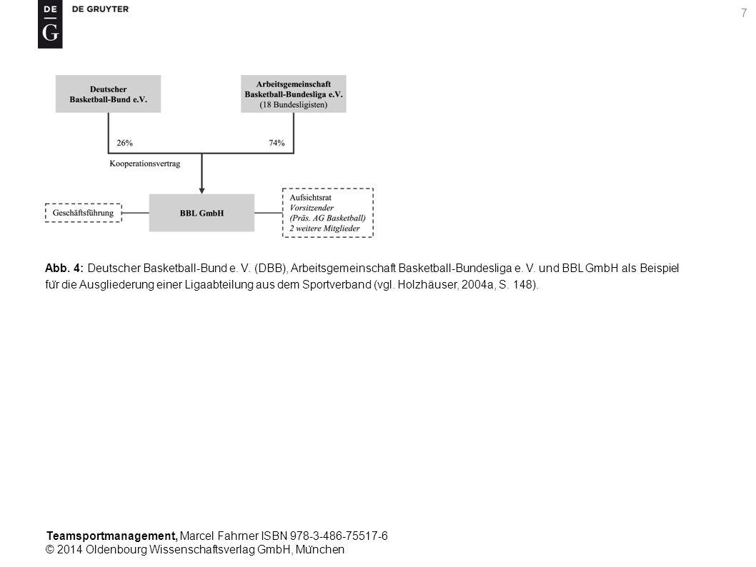 Teamsportmanagement, Marcel Fahrner ISBN 978-3-486-75517-6 © 2014 Oldenbourg Wissenschaftsverlag GmbH, Mu ̈ nchen 18 Tab.