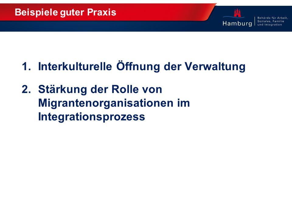 Beispiele guter Praxis 1.Interkulturelle Öffnung der Verwaltung 2.Stärkung der Rolle von Migrantenorganisationen im Integrationsprozess