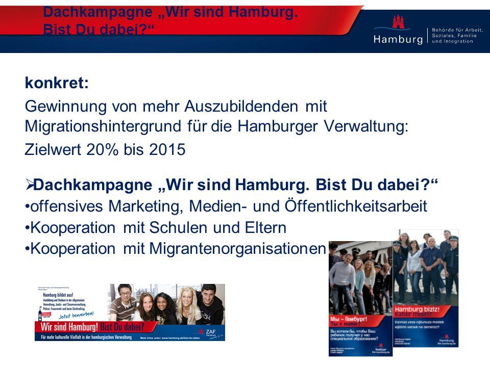 """Dachkampagne """"Wir sind Hamburg. Bist Du dabei?"""" konkret: Gewinnung von mehr Auszubildenden mit Migrationshintergrund für die Hamburger Verwaltung: Zie"""