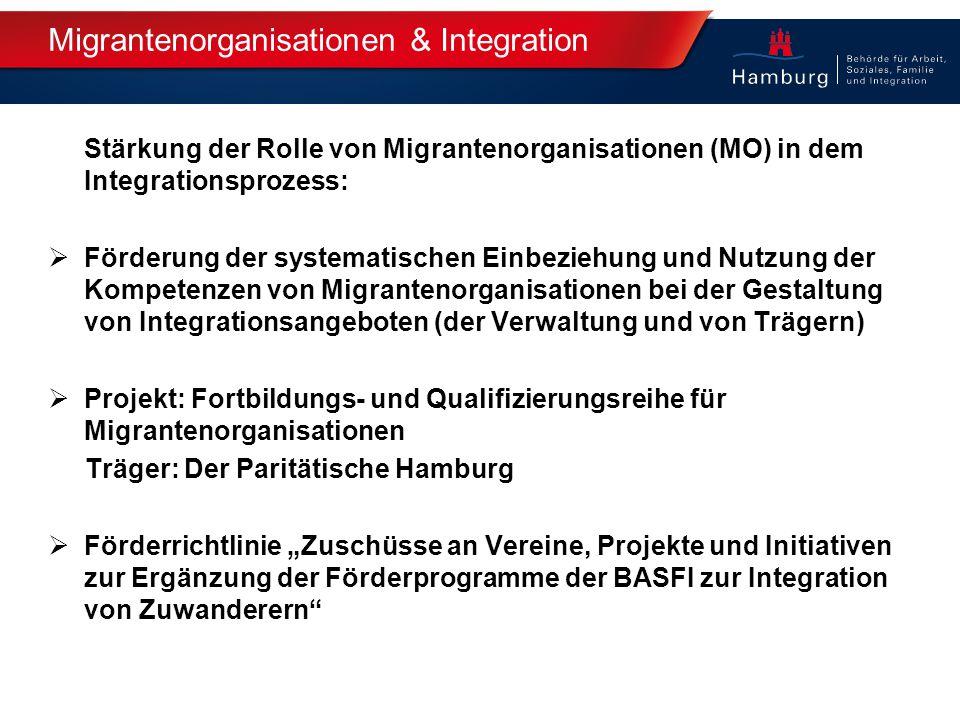 Migrantenorganisationen & Integration Stärkung der Rolle von Migrantenorganisationen (MO) in dem Integrationsprozess:  Förderung der systematischen E