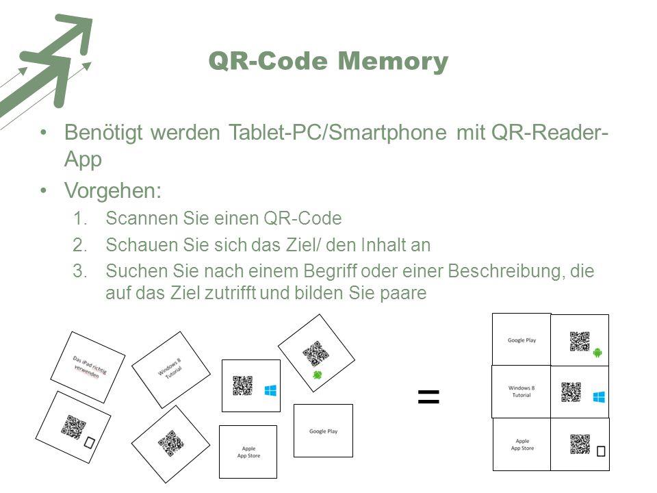 QR-Code Memory Benötigt werden Tablet-PC/Smartphone mit QR-Reader- App Vorgehen: 1.Scannen Sie einen QR-Code 2.Schauen Sie sich das Ziel/ den Inhalt a