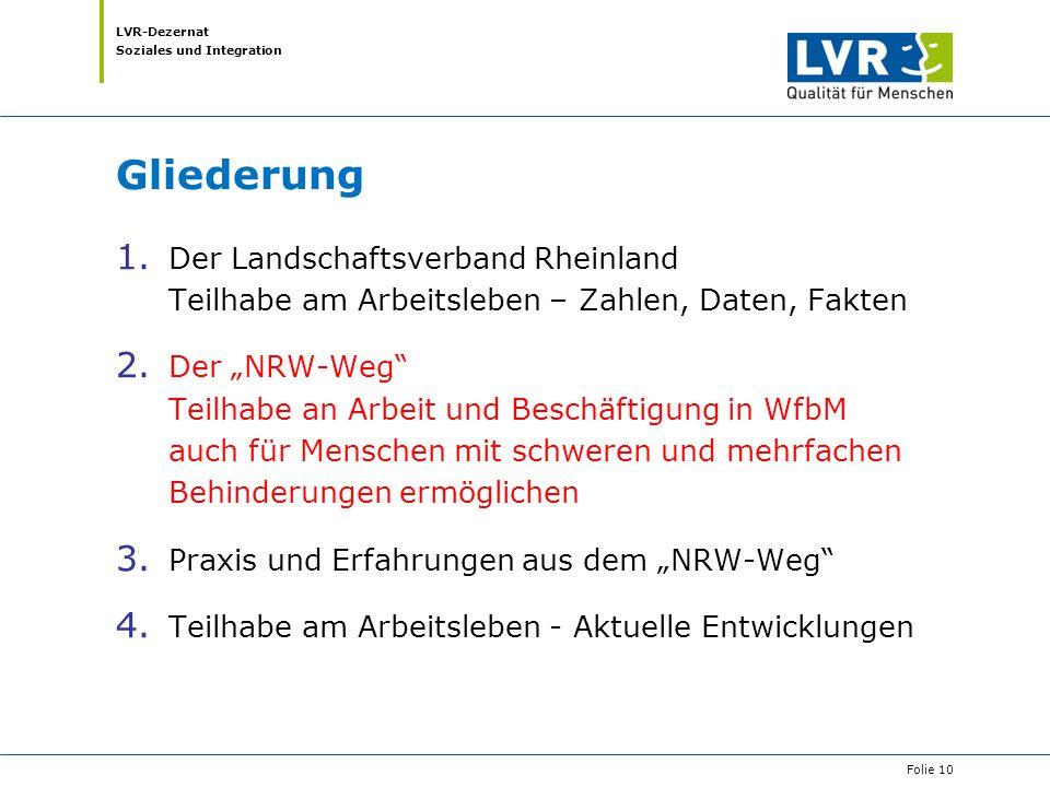 """LVR-Dezernat Soziales und Integration Gliederung 1. Der Landschaftsverband Rheinland Teilhabe am Arbeitsleben – Zahlen, Daten, Fakten 2. Der """"NRW-Weg"""""""