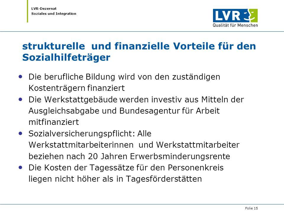 LVR-Dezernat Soziales und Integration strukturelle und finanzielle Vorteile für den Sozialhilfeträger Die berufliche Bildung wird von den zuständigen