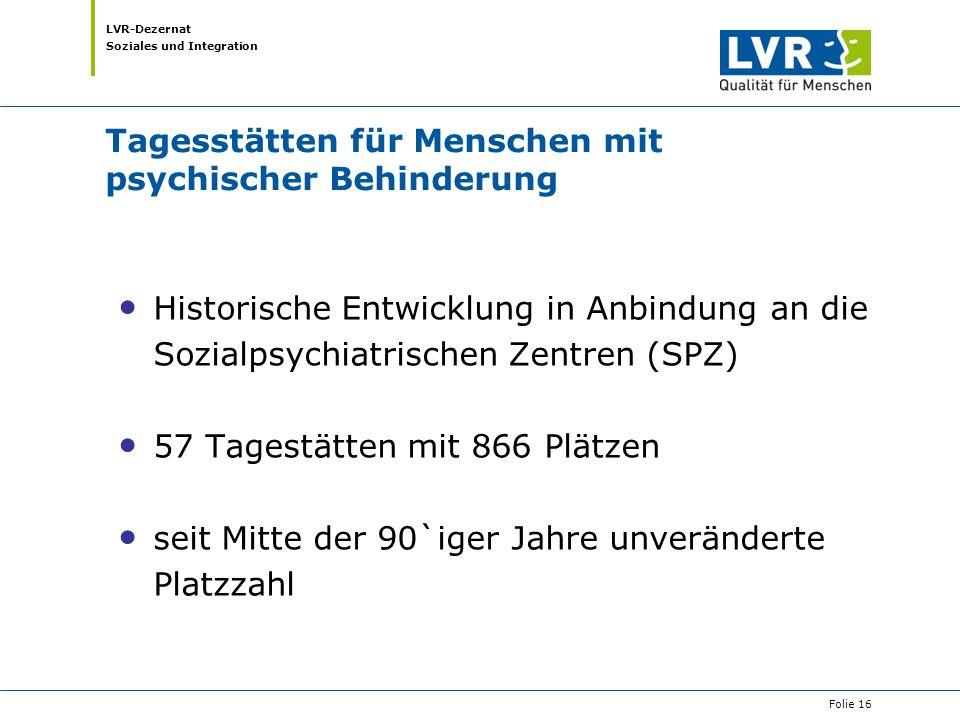 LVR-Dezernat Soziales und Integration Tagesstätten für Menschen mit psychischer Behinderung Historische Entwicklung in Anbindung an die Sozialpsychiat