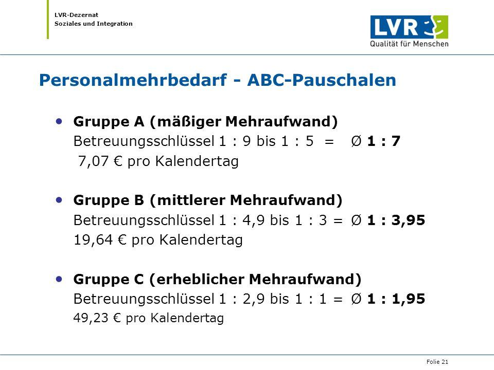 LVR-Dezernat Soziales und Integration Personalmehrbedarf - ABC-Pauschalen Gruppe A (mäßiger Mehraufwand) Betreuungsschlüssel 1 : 9 bis 1 : 5 = Ø 1 : 7