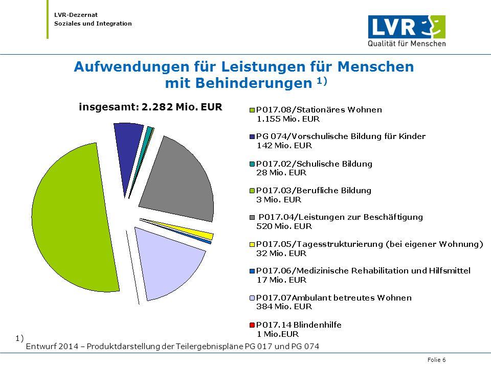 LVR-Dezernat Soziales und Integration 1) Entwurf 2014 – Produktdarstellung der Teilergebnispläne PG 017 und PG 074 Aufwendungen für Leistungen für Men