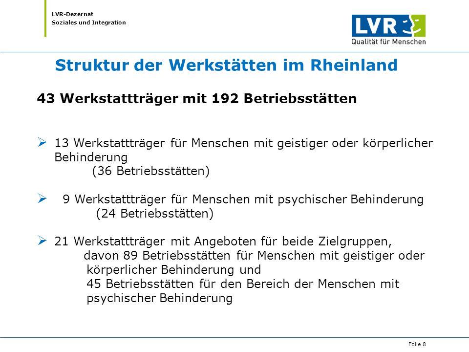 LVR-Dezernat Soziales und Integration Folie 8 Struktur der Werkstätten im Rheinland 43 Werkstattträger mit 192 Betriebsstätten  13 Werkstattträger fü