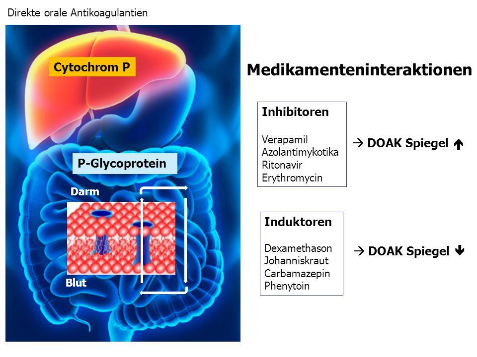 Darm Blut P-Glycoprotein Cytochrom P Inhibitoren Verapamil Azolantimykotika Ritonavir Erythromycin Induktoren Dexamethason Johanniskraut Carbamazepin