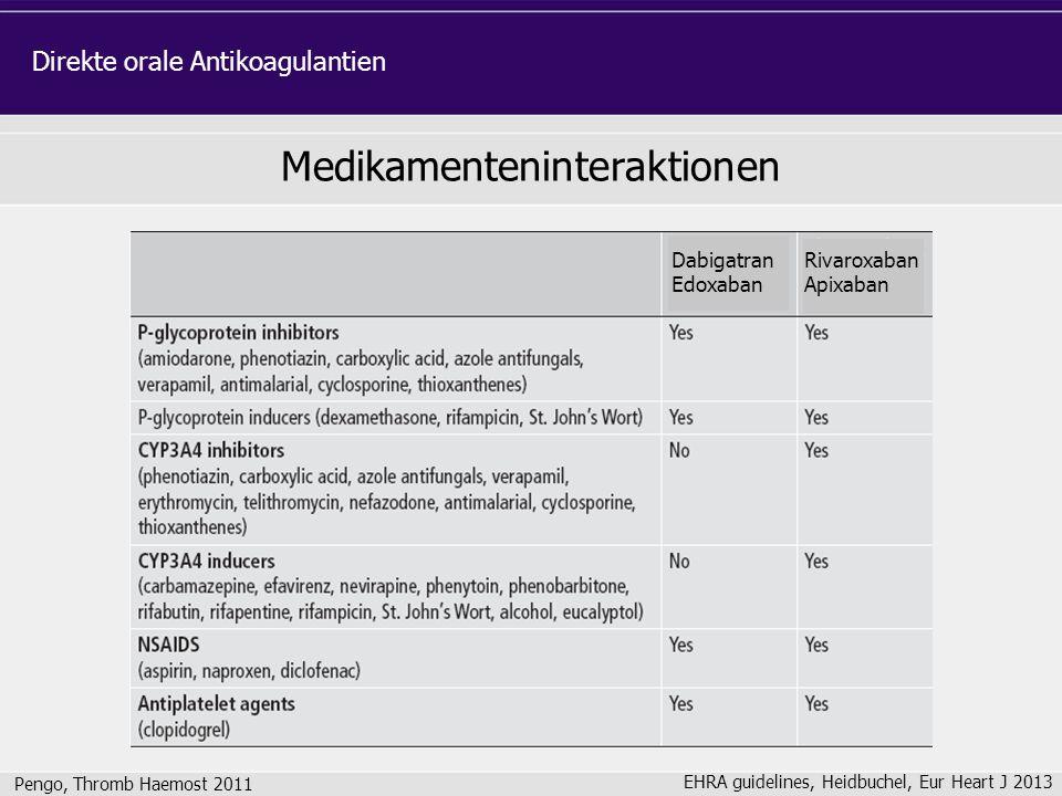 Medikamenteninteraktionen Pengo, Thromb Haemost 2011 Direkte orale Antikoagulantien Rivaroxaban Apixaban Dabigatran Edoxaban EHRA guidelines, Heidbuch