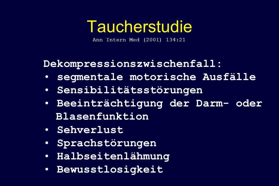Taucherstudie Ann Intern Med (2001) 134:21 Dekompressionszwischenfall: segmentale motorische Ausfälle Sensibilitätsstörungen Beeinträchtigung der Darm