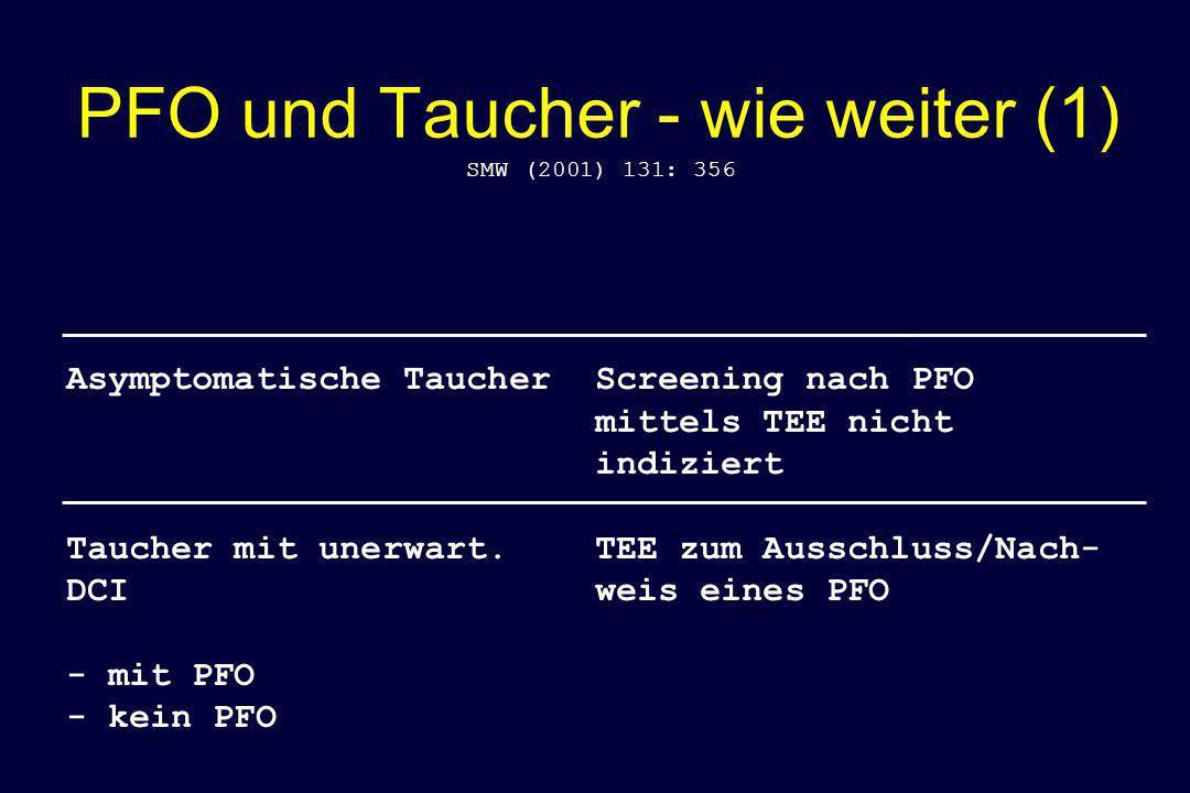 PFO und Taucher - wie weiter (1) SMW (2001) 131: 356 Asymptomatische TaucherScreening nach PFO mittels TEE nicht indiziert Taucher mit unerwart.TEE zu