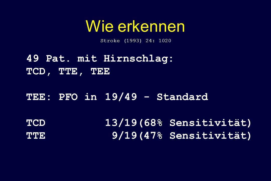 Wie erkennen 49 Pat. mit Hirnschlag: TCD, TTE, TEE TEE: PFO in 19/49 - Standard TCD 13/19(68% Sensitivität) TTE 9/19(47% Sensitivität) Stroke (1993) 2