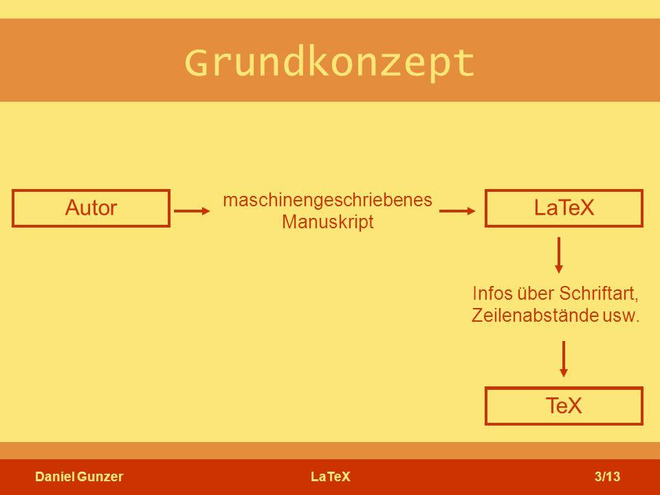 Daniel GunzerLaTeX3/13 Grundkonzept Autor maschinengeschriebenes Manuskript Infos über Schriftart, Zeilenabstände usw. Buchdesigner Setzer LaTeX TeX