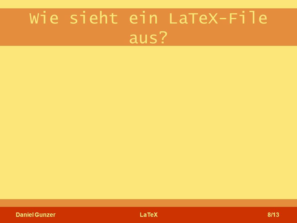 Daniel GunzerLaTeX8/13 Wie sieht ein LaTeX-File aus?