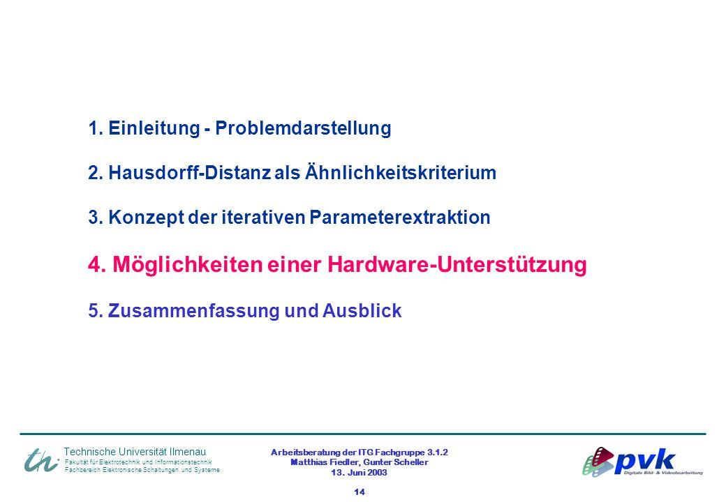 Arbeitsberatung der ITG Fachgruppe 3.1.2 Matthias Fiedler, Gunter Scheller 13. Juni 2003 14 Fakultät für Elektrotechnik und Informationstechnik Fachbe
