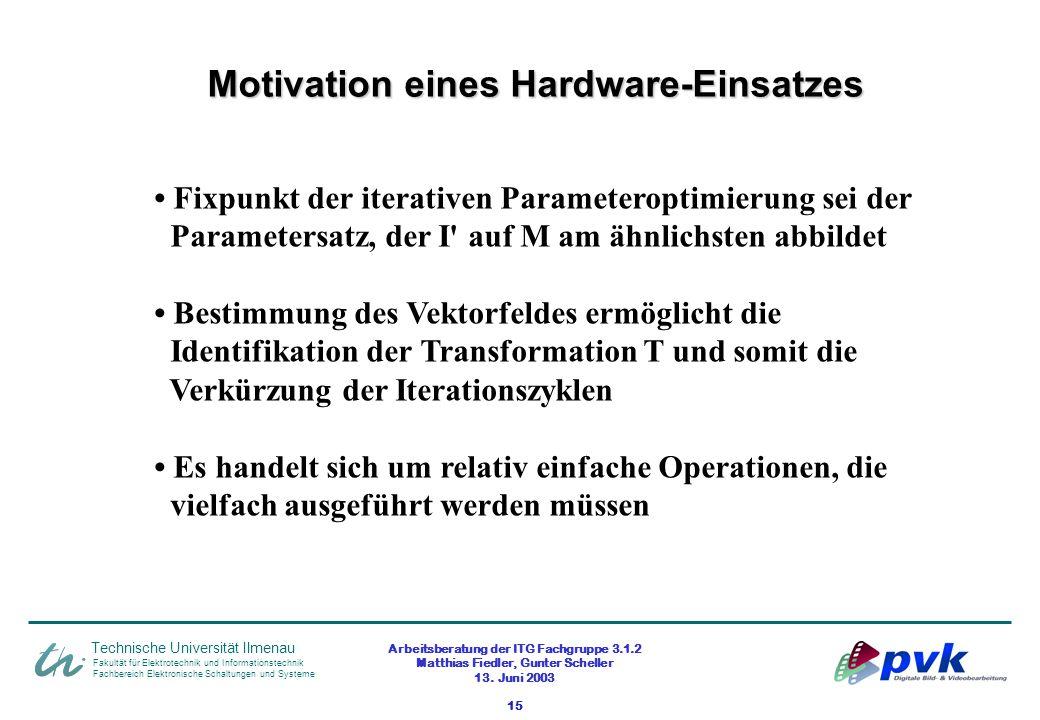 Arbeitsberatung der ITG Fachgruppe 3.1.2 Matthias Fiedler, Gunter Scheller 13. Juni 2003 15 Fakultät für Elektrotechnik und Informationstechnik Fachbe