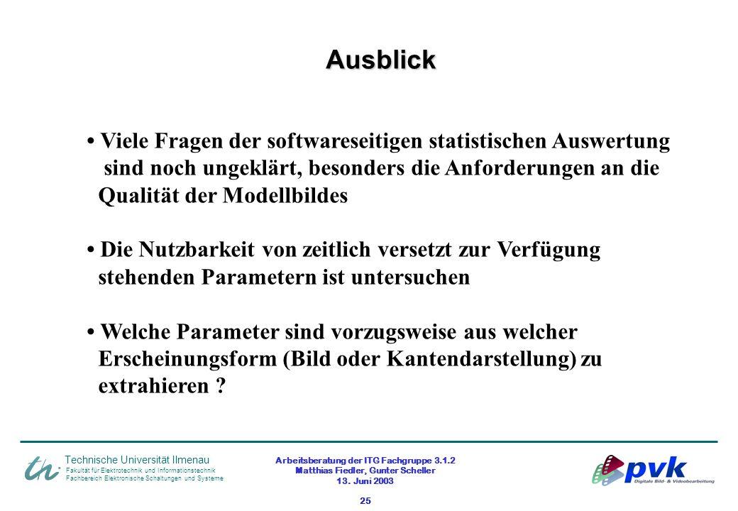 Arbeitsberatung der ITG Fachgruppe 3.1.2 Matthias Fiedler, Gunter Scheller 13. Juni 2003 25 Fakultät für Elektrotechnik und Informationstechnik Fachbe