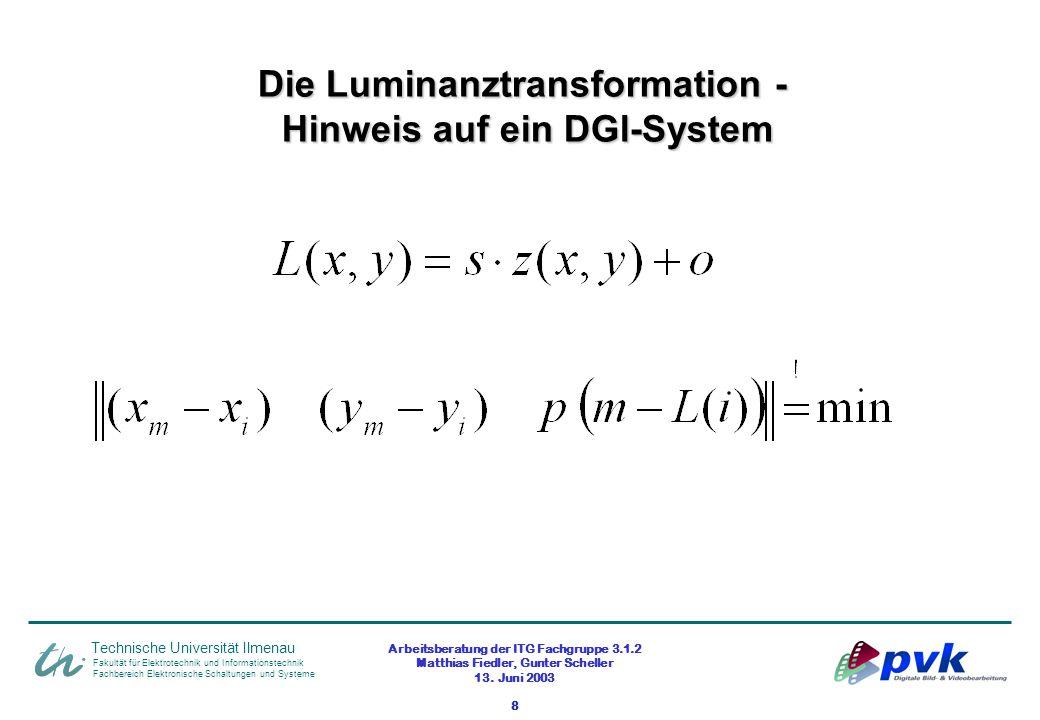 Arbeitsberatung der ITG Fachgruppe 3.1.2 Matthias Fiedler, Gunter Scheller 13. Juni 2003 8 Fakultät für Elektrotechnik und Informationstechnik Fachber
