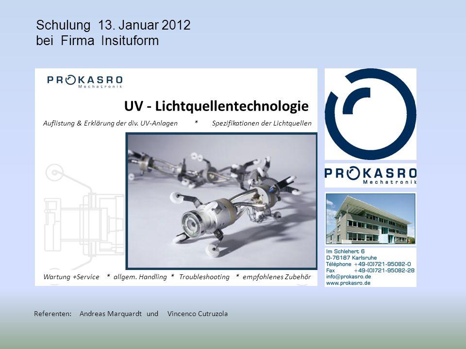 Begrüßung und Vorstellung der Firma ProKASRO sowie Personen, Einführung in die folgenden Themen: 1.