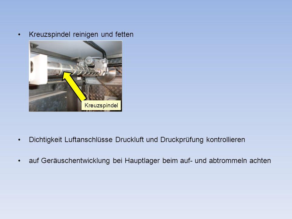 Kreuzspindel reinigen und fetten Dichtigkeit Luftanschlüsse Druckluft und Druckprüfung kontrollieren auf Geräuschentwicklung bei Hauptlager beim auf-