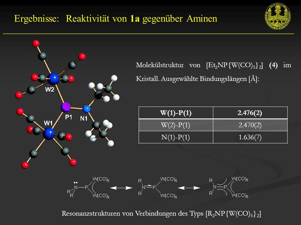 __________________________________________________________ Ergebnisse: Reaktivität von 1a gegenüber Aminen Molekülstruktur von [Et 2 NP{W(CO) 5 } 2 ] (4) im Kristall.