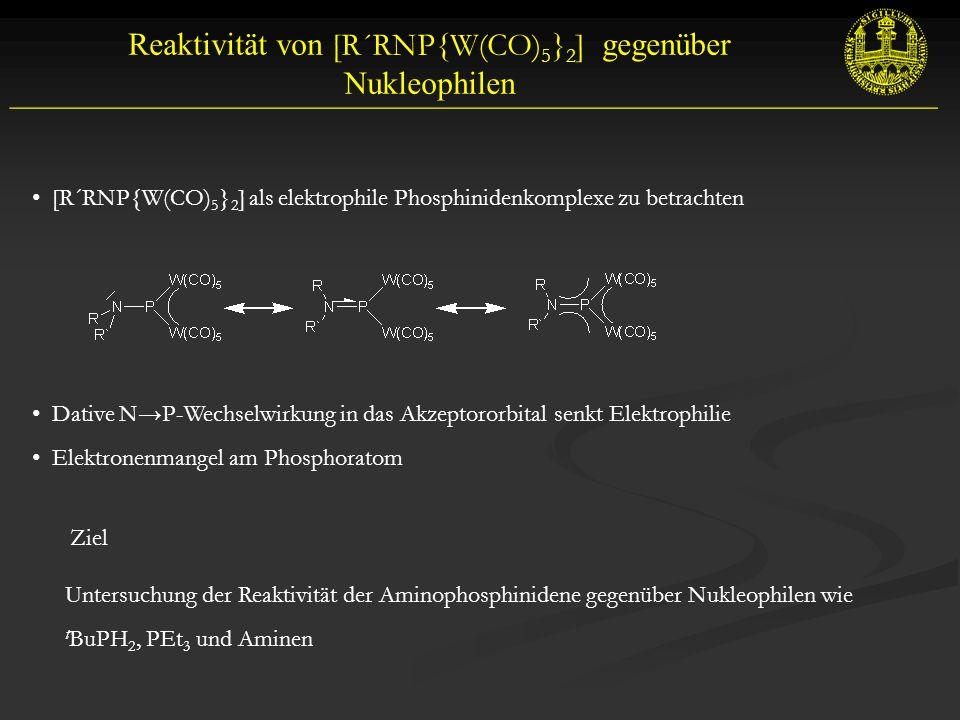 Reaktivität von [R´RNP{W(CO) 5 } 2 ] gegenüber Nukleophilen __________________________________________________________ [R´RNP{W(CO) 5 } 2 ] als elektrophile Phosphinidenkomplexe zu betrachten Dative N→P-Wechselwirkung in das Akzeptororbital senkt Elektrophilie Elektronenmangel am Phosphoratom Ziel Untersuchung der Reaktivität der Aminophosphinidene gegenüber Nukleophilen wie t BuPH 2, PEt 3 und Aminen