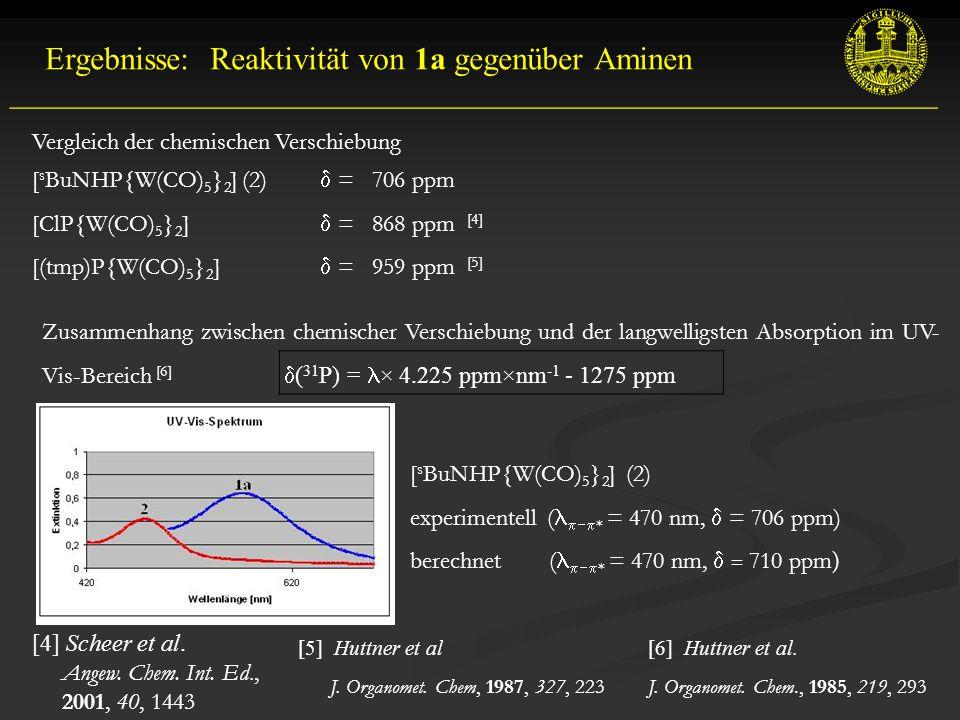  ( 31 P) = × 4.225 ppm×nm -1 - 1275 ppm __________________________________________________________ Ergebnisse: Reaktivität von 1a gegenüber Aminen [4] Scheer et al.