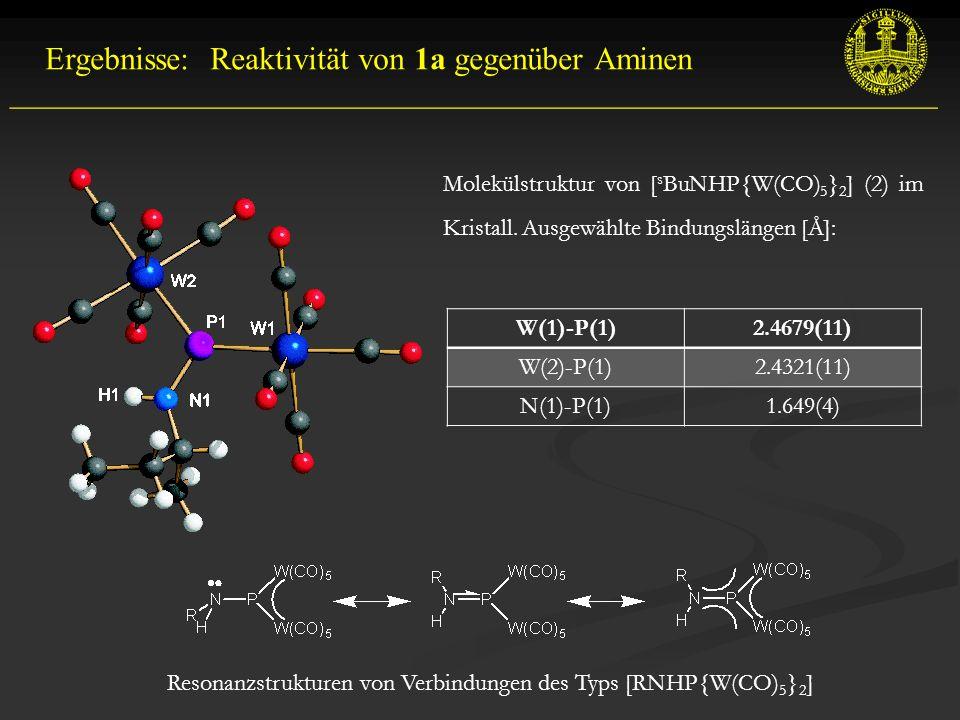 __________________________________________________________ Ergebnisse: Reaktivität von 1a gegenüber Aminen Resonanzstrukturen von Verbindungen des Typs [RNHP{W(CO) 5 } 2 ] Molekülstruktur von [ s BuNHP{W(CO) 5 } 2 ] (2) im Kristall.