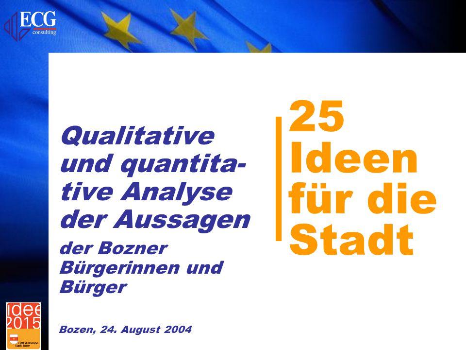 25 Ideen für die Stadt Qualitative und quantita- tive Analyse der Aussagen der Bozner Bürgerinnen und Bürger Bozen, 24.