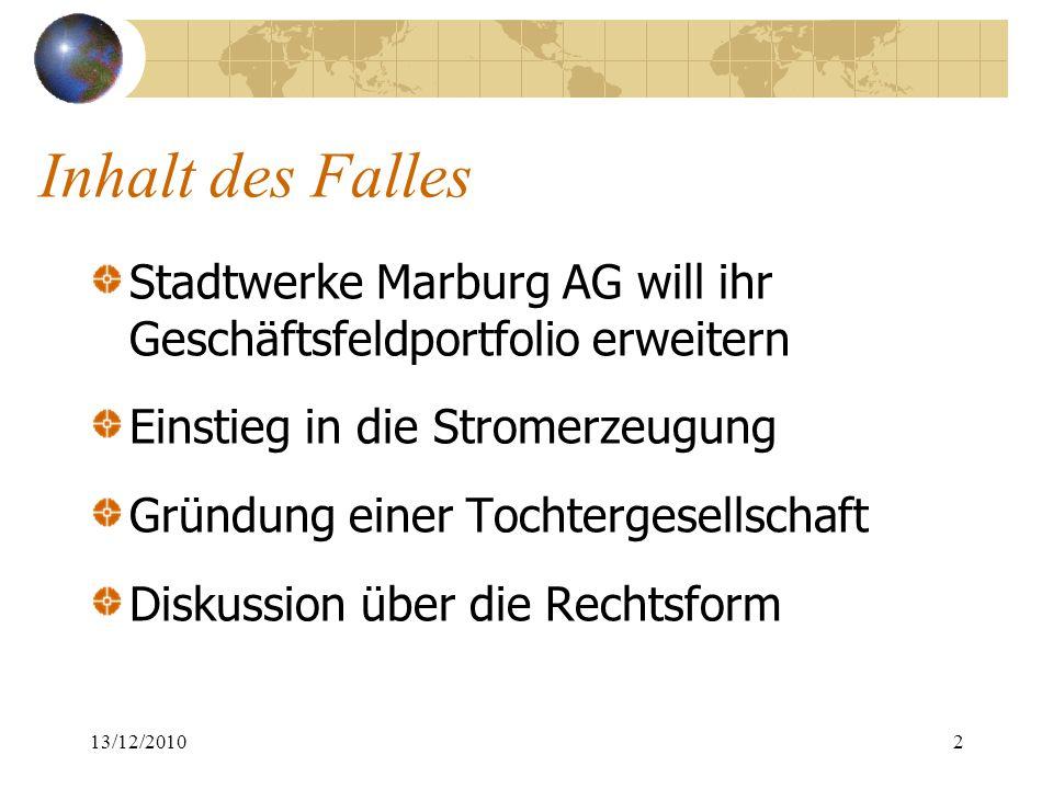 Inhalt des Falles Stadtwerke Marburg AG will ihr Geschäftsfeldportfolio erweitern Einstieg in die Stromerzeugung Gründung einer Tochtergesellschaft Di