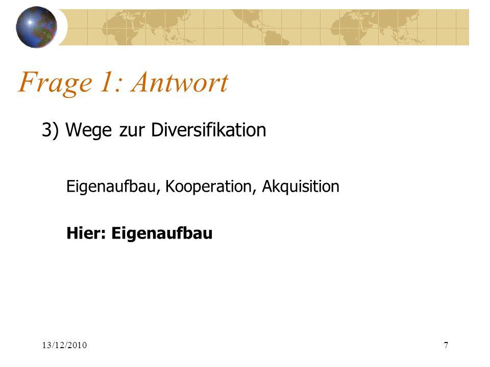 Frage 1: Antwort 3) Wege zur Diversifikation Eigenaufbau, Kooperation, Akquisition Hier: Eigenaufbau 13/12/20107