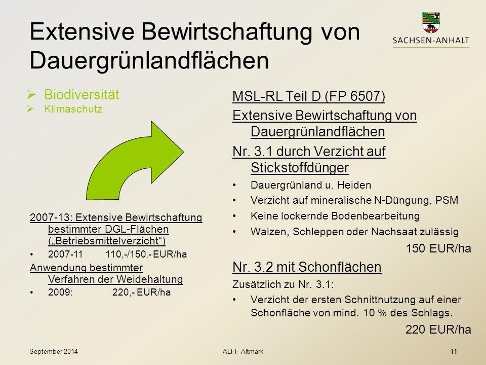 11 Extensive Bewirtschaftung von Dauergrünlandflächen  Biodiversität  Klimaschutz MSL-RL Teil D (FP 6507) Extensive Bewirtschaftung von Dauergrünlan