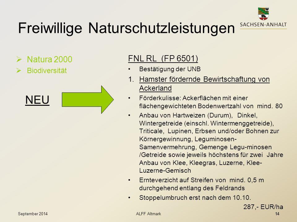 14 Freiwillige Naturschutzleistungen  Natura 2000  Biodiversität FNL RL (FP 6501) Bestätigung der UNB 1.Hamster fördernde Bewirtschaftung von Ackerl