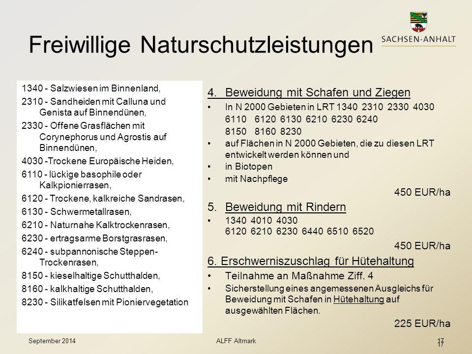 17 Freiwillige Naturschutzleistungen  Natura 2000  Biodiversität 4. Beweidung mit Schafen und Ziegen In N 2000 Gebieten in LRT 1340 2310 2330 4030 6