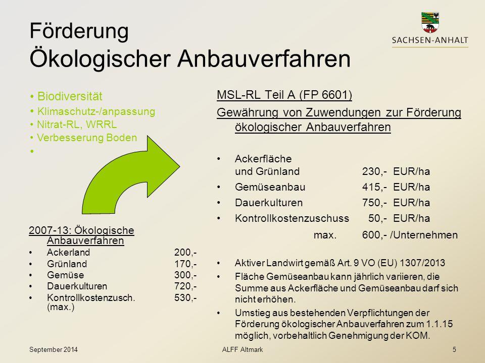 Förderung Ökologischer Anbauverfahren 2007-13: Ökologische Anbauverfahren Ackerland200,- Grünland170,- Gemüse300,- Dauerkulturen720,- Kontrollkostenzu