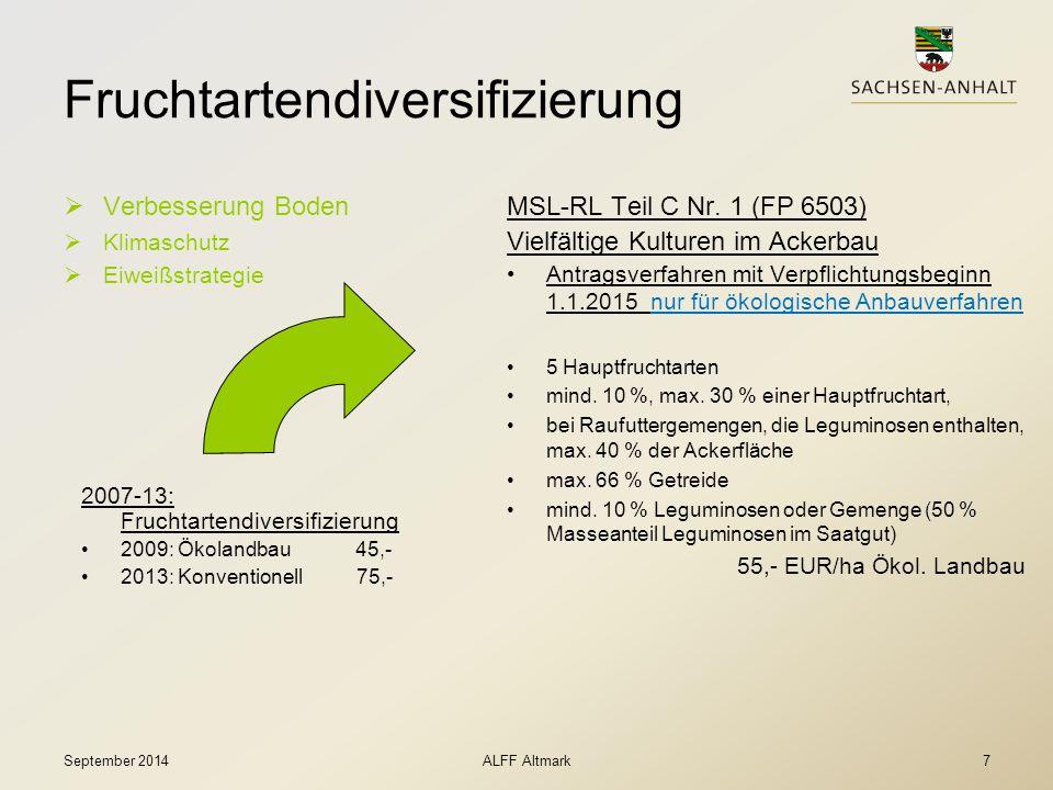 Fruchtartendiversifizierung  Verbesserung Boden  Klimaschutz  Eiweißstrategie September 2014ALFF Altmark7 MSL-RL Teil C Nr. 1 (FP 6503) Vielfältige