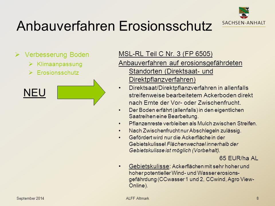 Anbauverfahren Erosionsschutz  Verbesserung Boden  Klimaanpassung  Erosionsschutz MSL-RL Teil C Nr. 3 (FP 6505) Anbauverfahren auf erosionsgefährde