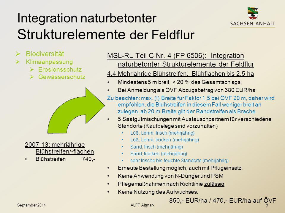 Integration naturbetonter Strukturelemente der Feldflur  Biodiversität  Klimaanpassung  Erosionsschutz  Gewässerschutz MSL-RL Teil C Nr. 4 (FP 650