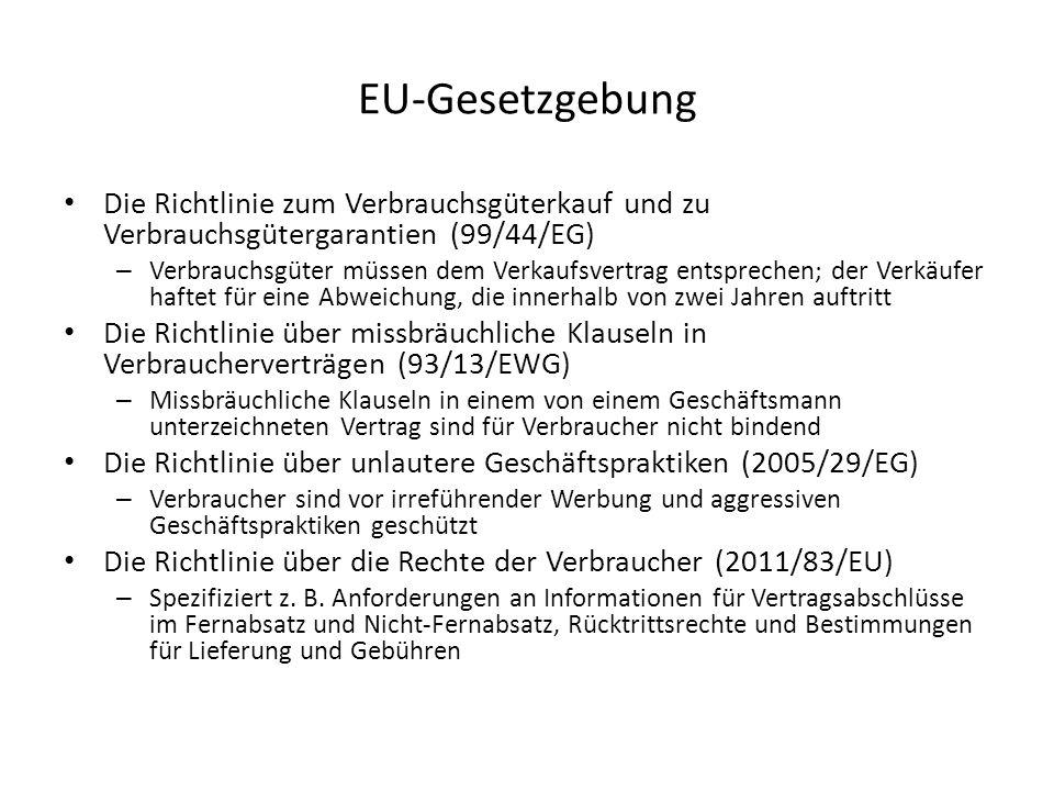 EU-Gesetzgebung Die Richtlinie zum Verbrauchsgüterkauf und zu Verbrauchsgütergarantien (99/44/EG) – Verbrauchsgüter müssen dem Verkaufsvertrag entspre