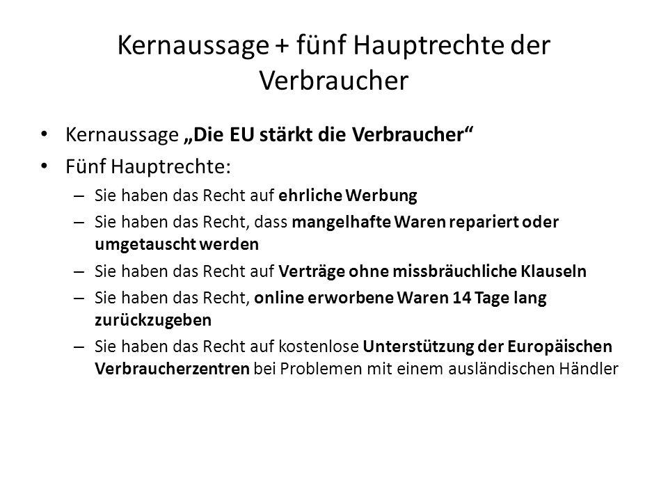 """Kernaussage + fünf Hauptrechte der Verbraucher Kernaussage """"Die EU stärkt die Verbraucher"""" Fünf Hauptrechte: – Sie haben das Recht auf ehrliche Werbun"""