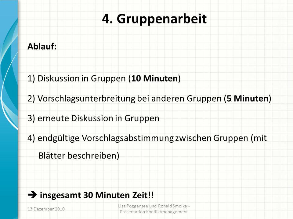 4. Gruppenarbeit Ablauf: 1) Diskussion in Gruppen (10 Minuten) 2) Vorschlagsunterbreitung bei anderen Gruppen (5 Minuten) 3) erneute Diskussion in Gru