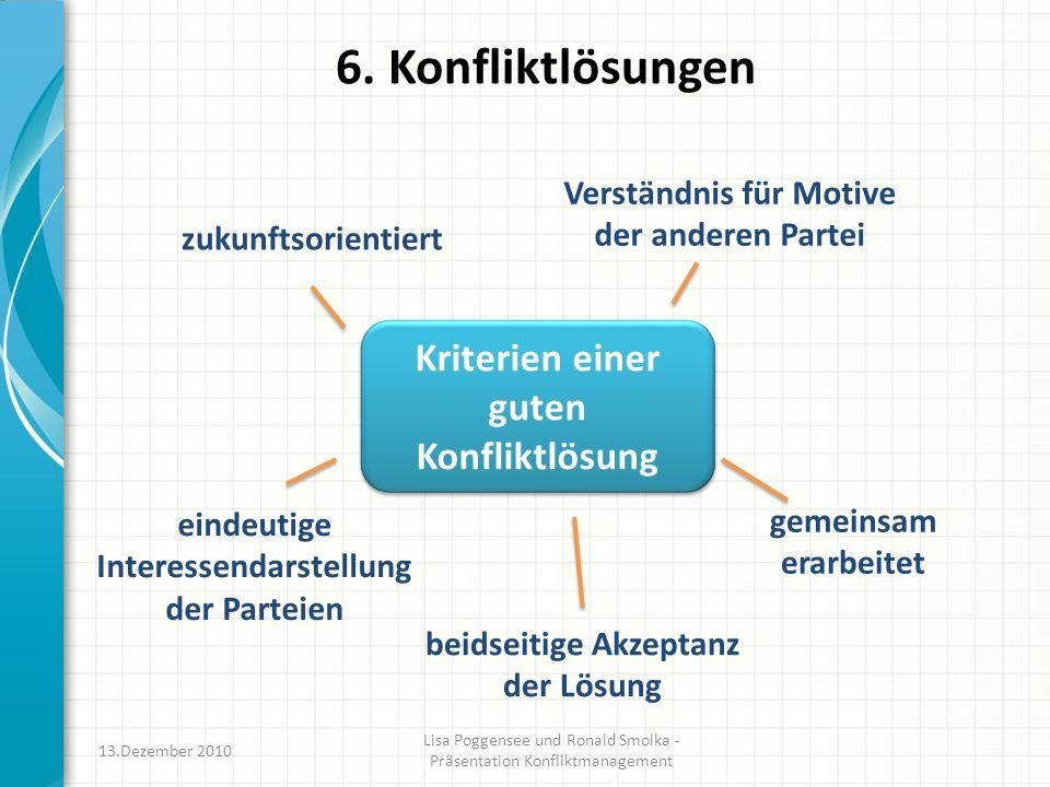 6. Konfliktlösungen Kriterien einer guten Konfliktlösung 13.Dezember 2010 Lisa Poggensee und Ronald Smolka - Präsentation Konfliktmanagement zukunftso