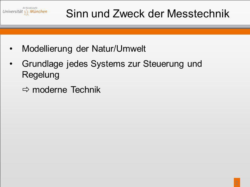 2 Sinn und Zweck der Messtechnik Modellierung der Natur/Umwelt Grundlage jedes Systems zur Steuerung und Regelung  moderne Technik
