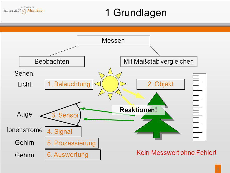 4 Sehen: 1 Grundlagen Messen BeobachtenMit Maßstab vergleichen 2. Objekt 3. Sensor 4. Signal 5. Prozessierung 6. Auswertung Kein Messwert ohne Fehler!