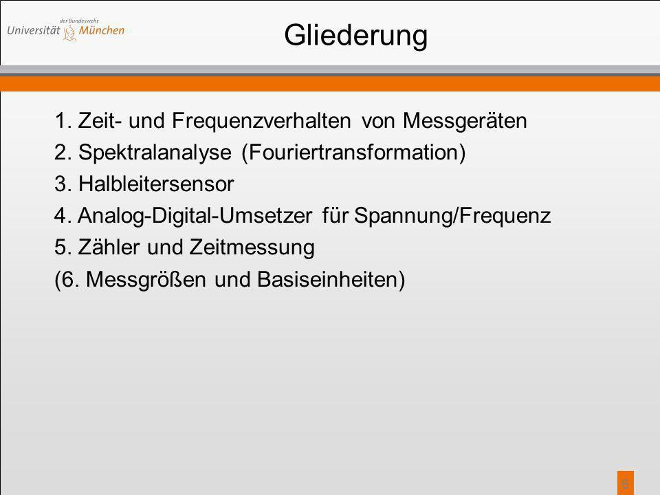 6 Gliederung 1. Zeit- und Frequenzverhalten von Messgeräten 2. Spektralanalyse (Fouriertransformation) 3. Halbleitersensor 4. Analog-Digital-Umsetzer