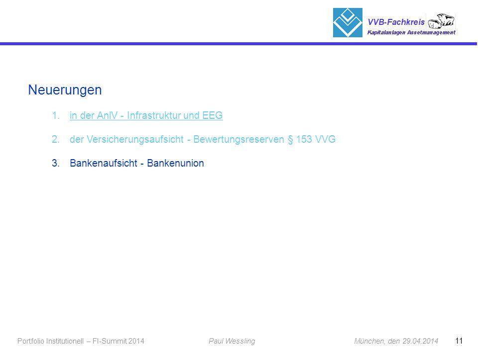 11 Portfolio Institutionell – FI-Summit 2014Paul Wessling München, den 29.04.2014 Fachkreis Kapitalanlagen Neuerungen 1.in der AnlV - Infrastruktur un