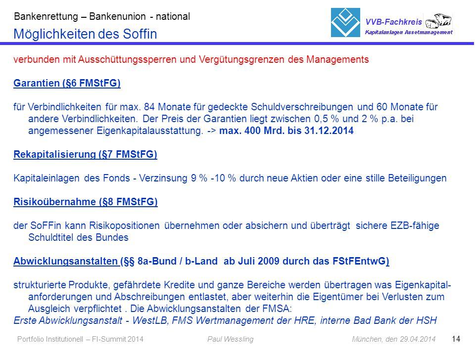 14 Portfolio Institutionell – FI-Summit 2014Paul Wessling München, den 29.04.2014 Fachkreis Kapitalanlagen Möglichkeiten des Soffin verbunden mit Auss