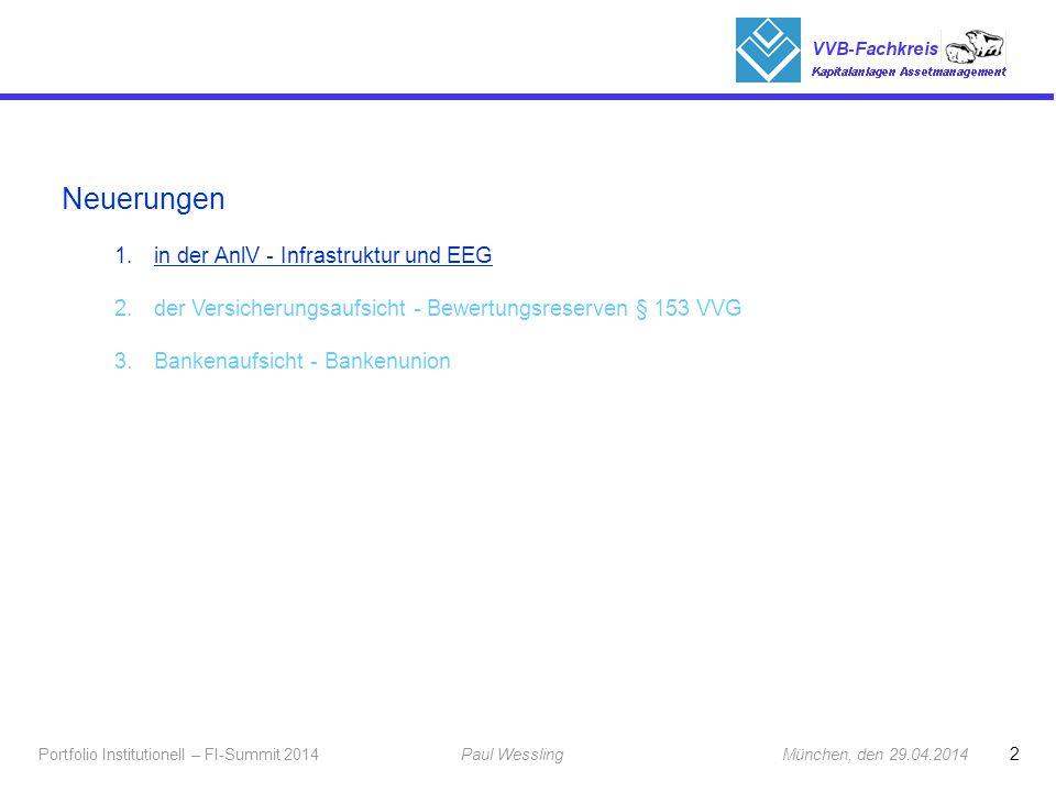 2 Portfolio Institutionell – FI-Summit 2014Paul Wessling München, den 29.04.2014 Fachkreis Kapitalanlagen Neuerungen 1.in der AnlV - Infrastruktur und